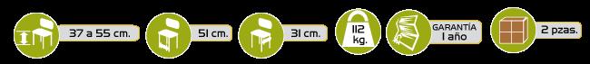 Especificaciones Banco para Ducha de Aluminio