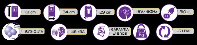 Especificaciones Concentrador de Oxigeno DeVilbiss