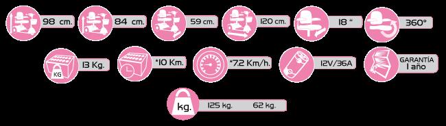 Especificaciones Scooter Mediano izzyGo