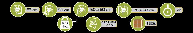 Especificaciones Silla Cómodo de Acero con Ruedas y Brazos Abatibles