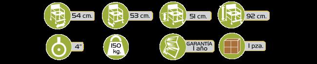 Especificaciones Silla Comodo Ducha de Lujo de Aluminio con Ruedas