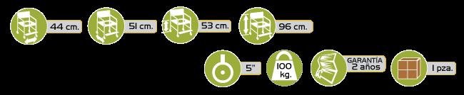 Especificaciones Silla Comodo de Acero con Descansapies