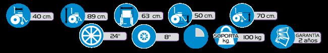 Especificaciones Silla de Ruedas Economica de Aluminio