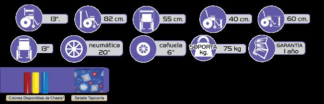 Especificaciones Silla de Ruedas Infantil R2MIL