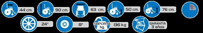 Especificaciones Silla de Ruedas Movili-SA-SE Martillada Silver Vein
