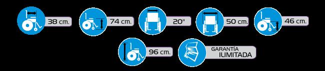 Especificaciones Silla de Ruedas Tipo Traslado R2MIL de Acero