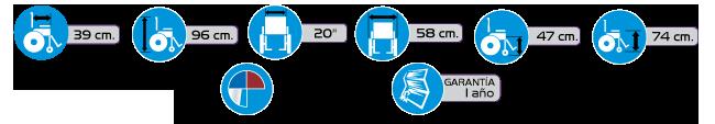 Especificaciones Silla de Ruedas Tipo Traslado R2MIL de Aluminio
