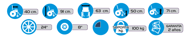 Especificaciones Silla de Ruedas con Brazos Desmontables y Descansapies