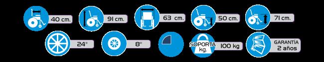 Especificaciones Silla de Ruedas con Brazos Fijos y Descansapies