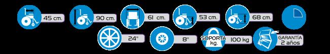 Especificaciones Silla de Ruedas con Comodo Integrado