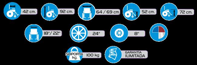 Especificaciones Sillas de Ruedas de Aluminio R2MIL-AL
