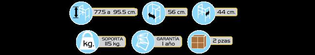 Especificaciones Andaderas de Lujo Plegables de Aluminio