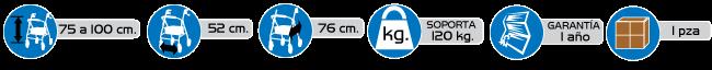 Especificaciones Andaderas Tipo Rollator Ultra Compacta